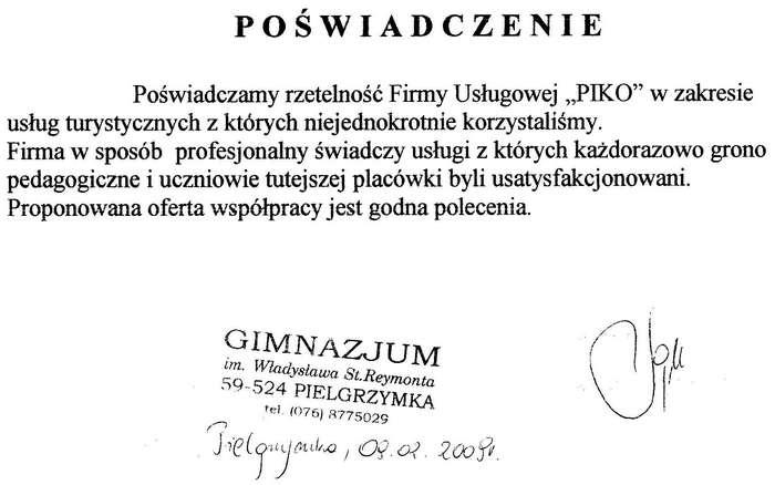 Gimnazjum im. Władysława St. Reymonta w Pielgrzymce
